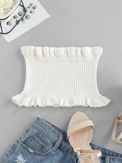 ZAFUL Strapless Ruffled Smocked Crop Top - Milk White S
