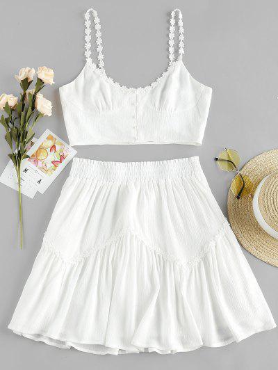 ZAFUL Flower Applique Button Up Mini Skirt Set - White M