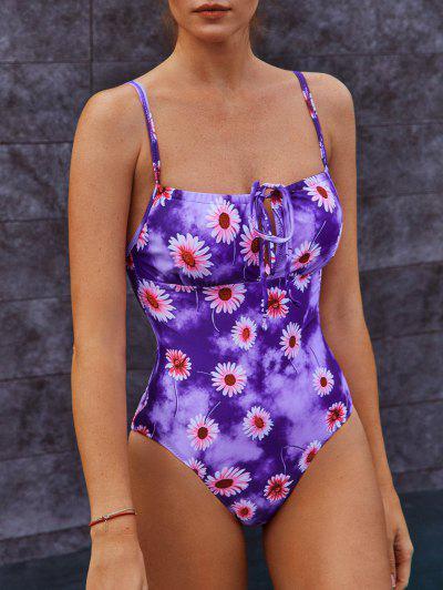 ZAFUL Tie Dye Flower Keyhole One-piece Swimsuit - Violet S