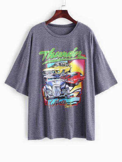T-shirt Graphique Voiture Imprimée à Goutte Epaule - Gris Xl