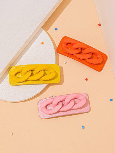 3 Piece Multicolored Chain Pattern Hair Barrettes Set - Multi