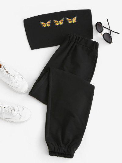 Butterfly Bandeau Top And Jogger Pants Set - Black L