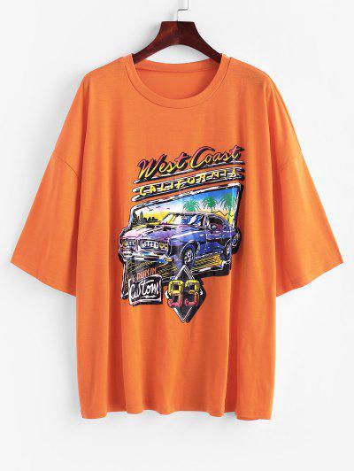 Letter Car Print Drop Shoulder Longline T-shirt - Orange Xl