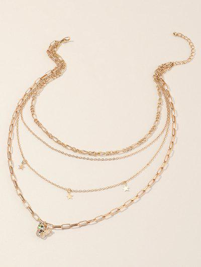 Star Butterfly Multilayered Chain Necklace - Golden