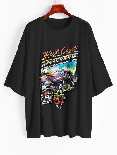 Letter Car Print Oversized Longline T-shirt - Black M