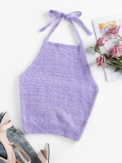 ZAFUL Halter Fuzzy Backless Sleeveless Sweater - Light Purple S