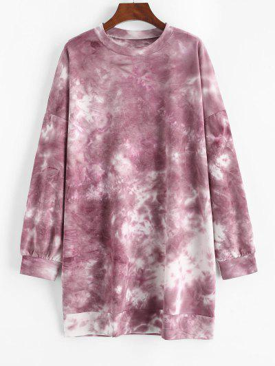 Tie Dye Drop Shoulder Oversized Sweater Dress - Red L
