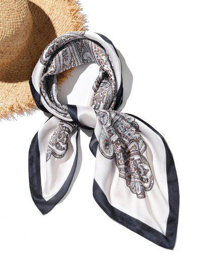 Écharpe Carrée Cachemire Imprimé En Satin Style Bohémien - Blanc
