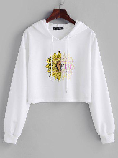 ZAFUL Drawstring Floral Crop Hoodie - White S