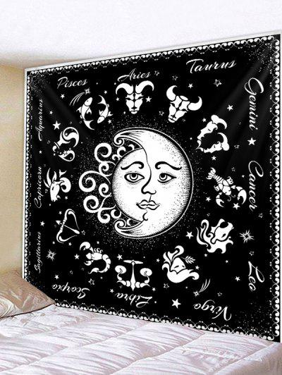 Horoscope Moon And Sun Pattern Wall Tapestry - Schwarz W 91 X L 71 Zoll