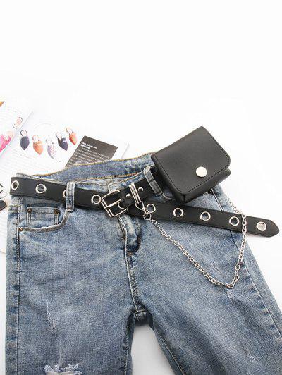 Punk Bag O Ring Chain Belt - Black