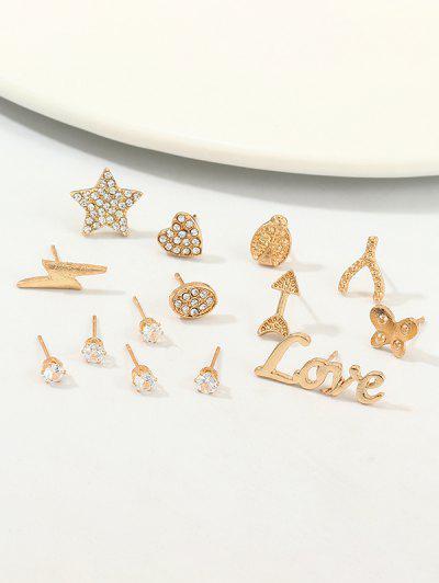 Conjunto De Brincos Emanel De Diamante Artificial Com Borboleta - Dourado