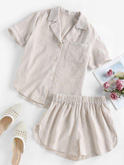 ZAFUL Seersucker Striped Pocket Pajama Shorts Set - Light Coffee S