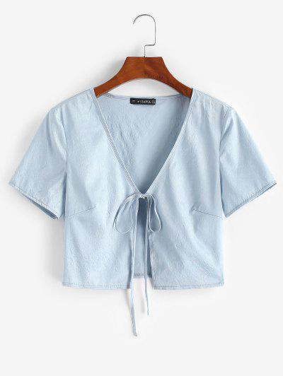ZAFUL Flower Jacquard Tie Front Crop Blouse - Light Blue L