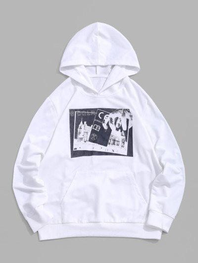 Graphic Pattern Casual Hoodie - White M