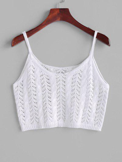 Cropped Solid Crochet Knit Beach Top - White