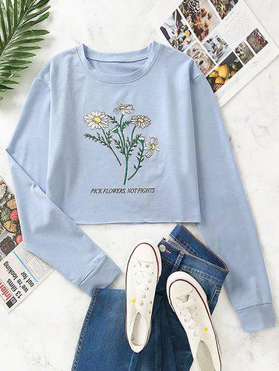 Flower Print Raw Hem Drop Shoulder Sweatshirt - Blue Gray S