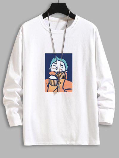 Cartoon Graphic Drop Shoulder Crew Neck T Shirt - White 4xl