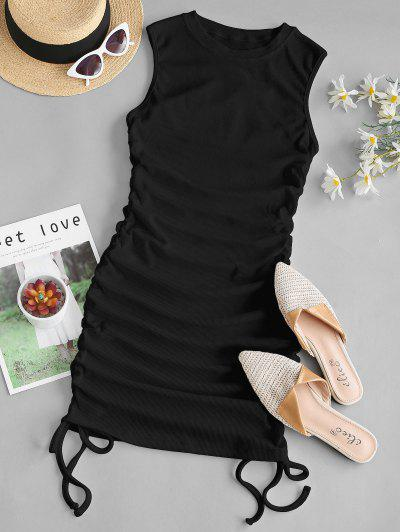 Ribbed Cinched Side Tank Dress - Black S