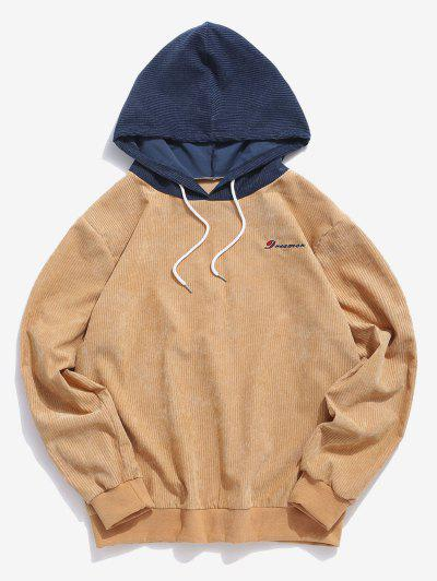 Dreamer Embroidery Two Tone Hoodie - Coffee L