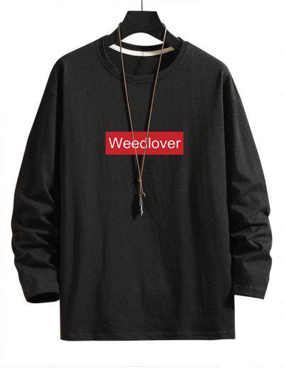 Letter Graphic Crew Neck Lounge T Shirt - Black L