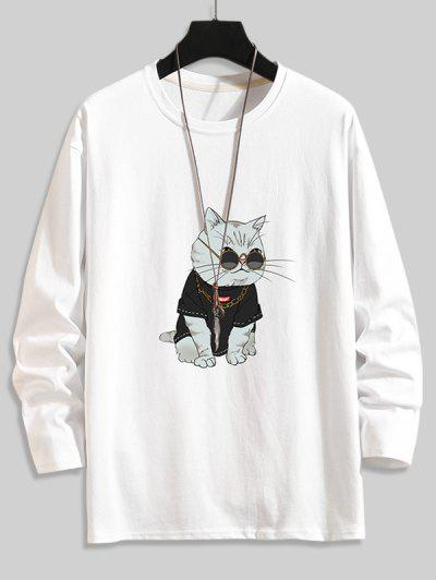 Cool Katzendruck Grundlegendes T-Shirt - Weiß 3xl