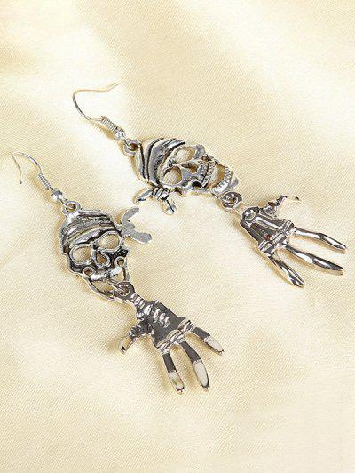 Halloween Pirate Skull Antique Silver Plated Earrings - Silver