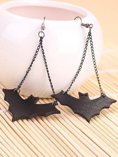 Halloween Leather Bat Chain Earrings - Preto