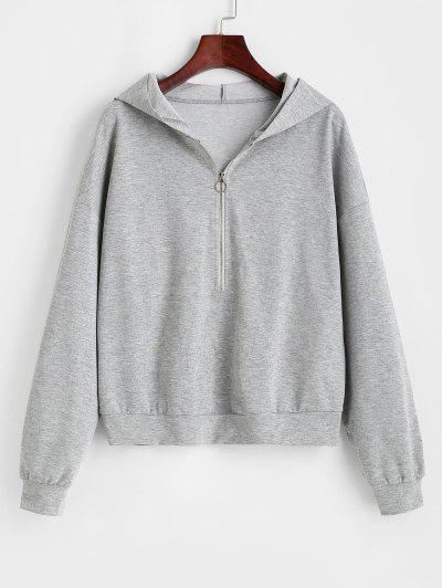 ZAFUL Half Zip Pullover Hoodie - Platinum S
