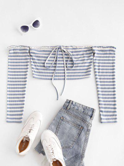 ZAFUL Stripe Off The Shoulder Crop Tee - Blue Gray L