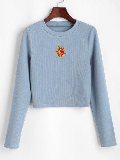ZAFUL Oriental Sun Embroidered Knitted Crop Sweatshirt - Blue Gray Xl