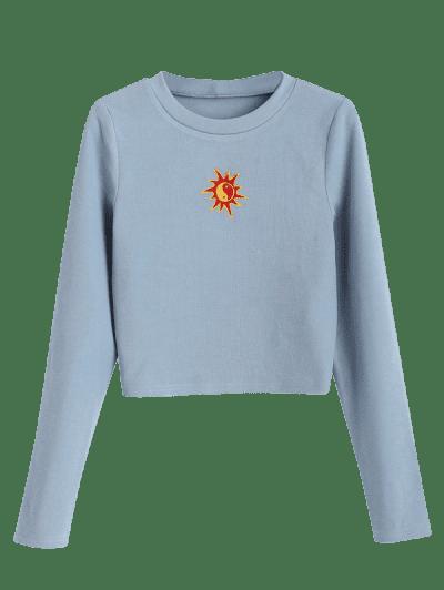 ZAFUL Oriental Sun Embroidered Knitted Crop Sweatshirt