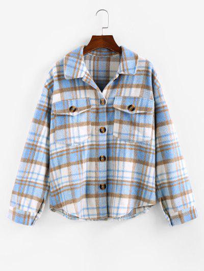 ZAFUL Plaid Drop Shoulder Pocket Jacket - Light Blue L