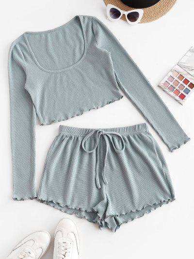 ZAFUL Rib Knit Two Piece Shorts Set - Blue Gray S