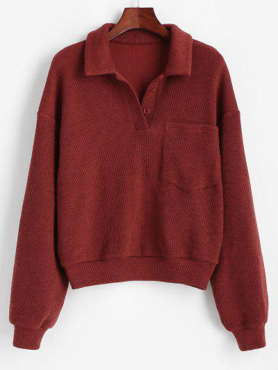 ZAFUL Drop Shoulder Pocket Half Button Sweater - Firebrick M