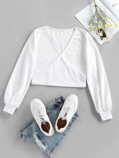 ZAFUL Crossover Crop Knitwear - White Xl