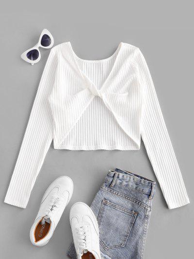 ZAFUL Twist Rib-Knit Crop Tee - White S