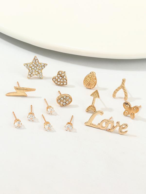 14Pcs Rhinestone Butterfly Stud Earrings Set
