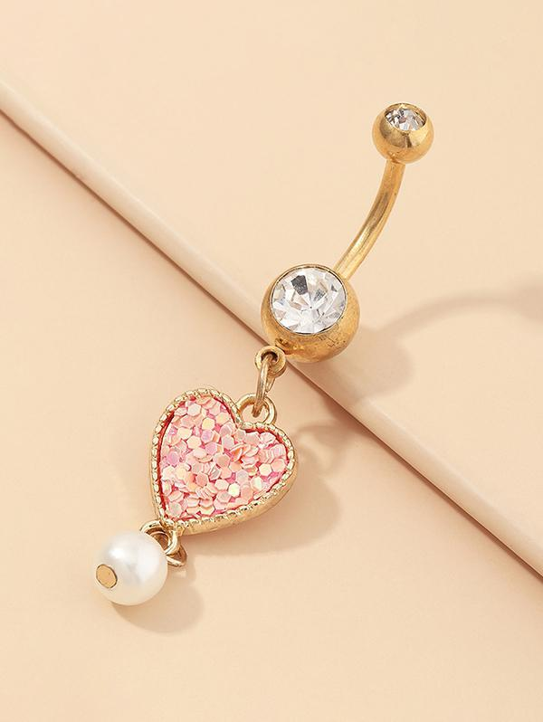 Heart Sequins Faux Pearl Navel Ring