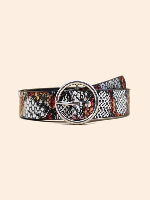 Snakeskin Pattern Round Buckle Belt