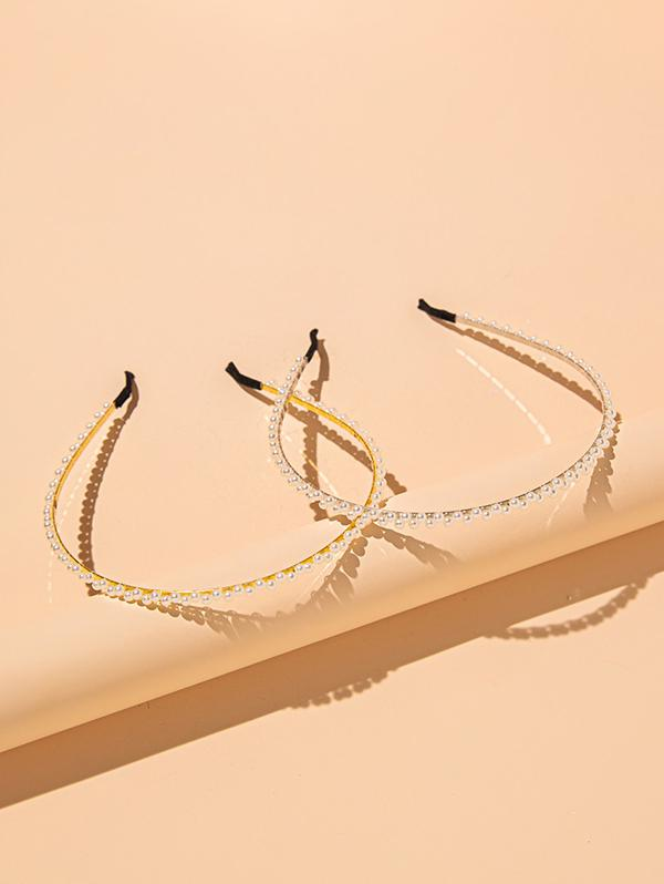 2 Pieces Faux Pearl Hair Bands