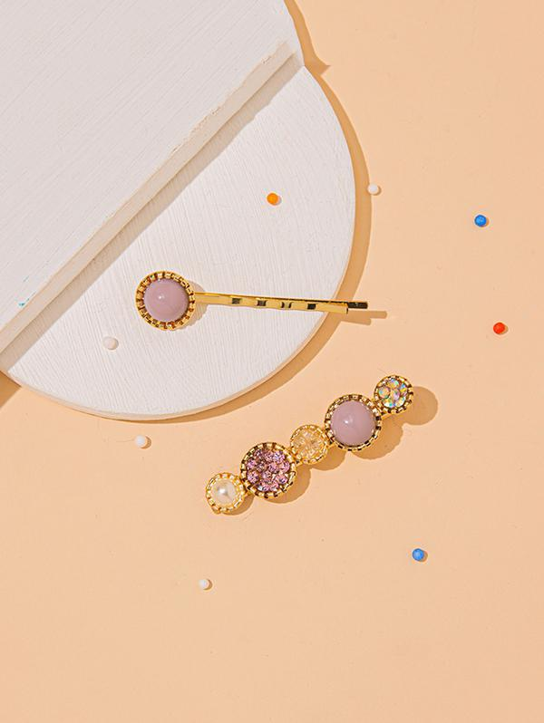 2 Piece Rhinestone Round Hairpins Set