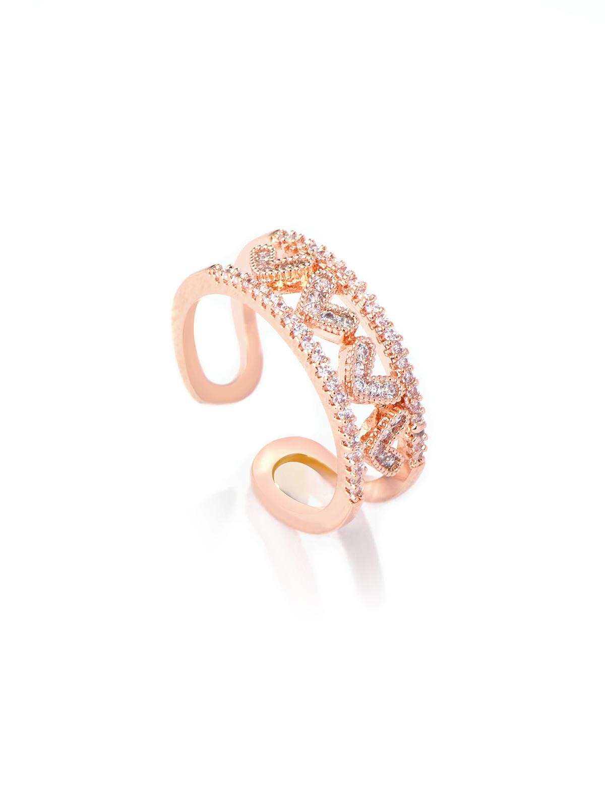 Artificial Diamond Heart Pattern Cuff Ring