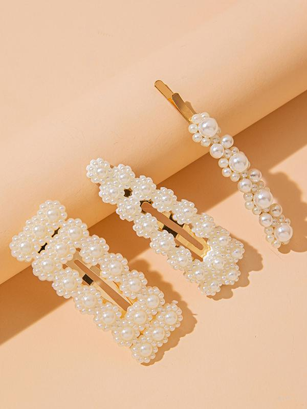 3 Piece Faux Pearl Embellished Hair Barrettes Set