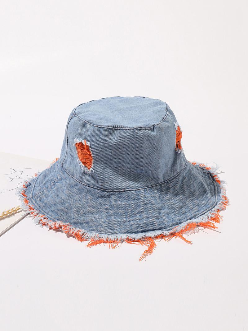 Frayed Hem Denim Bucket Hat