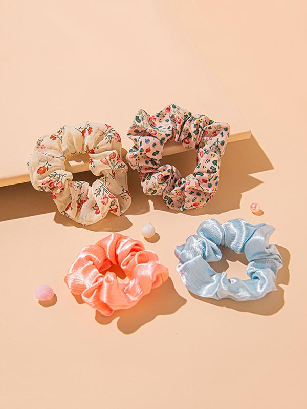 4 Piece Ditsy Floral And Plain Elastic Scrunchies Set