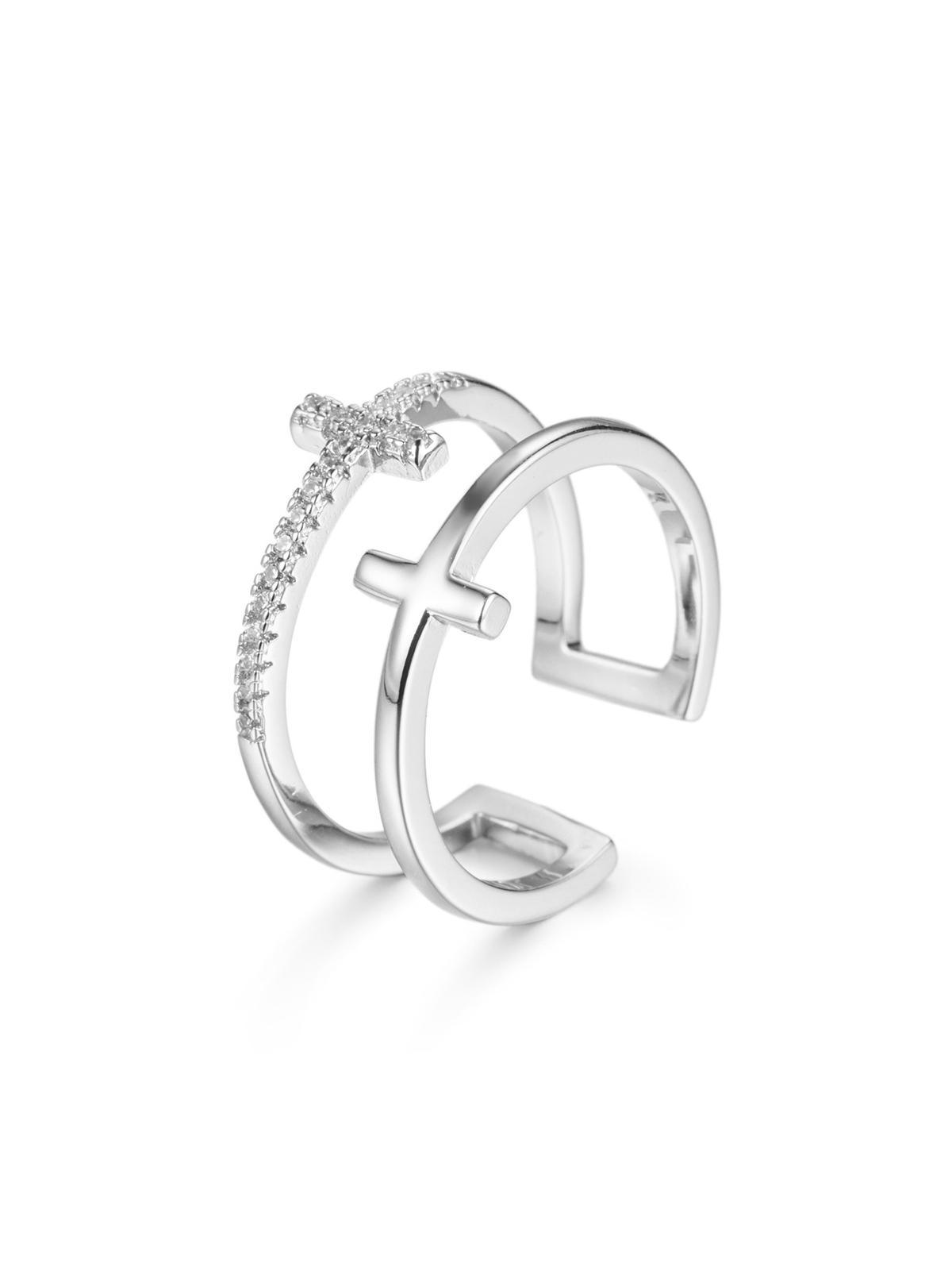 Hollow Cross Zircon Open Ring