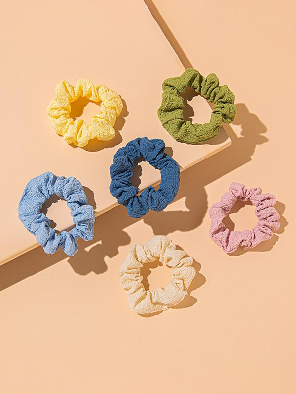 6 Piece Multicolored Simple Style Elastic Scrunchies Set