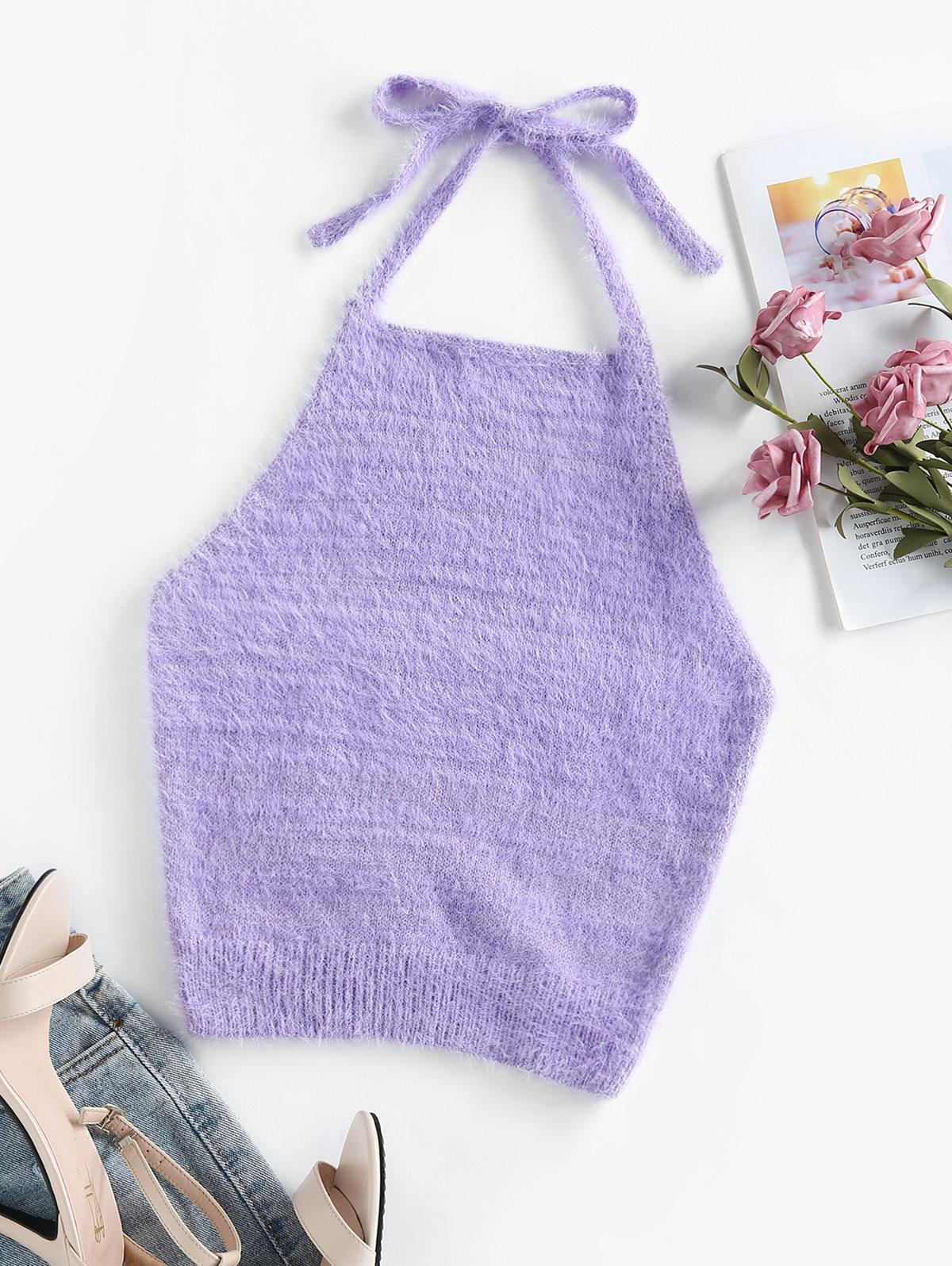 ZAFUL Halter Fuzzy Backless Sleeveless Sweater