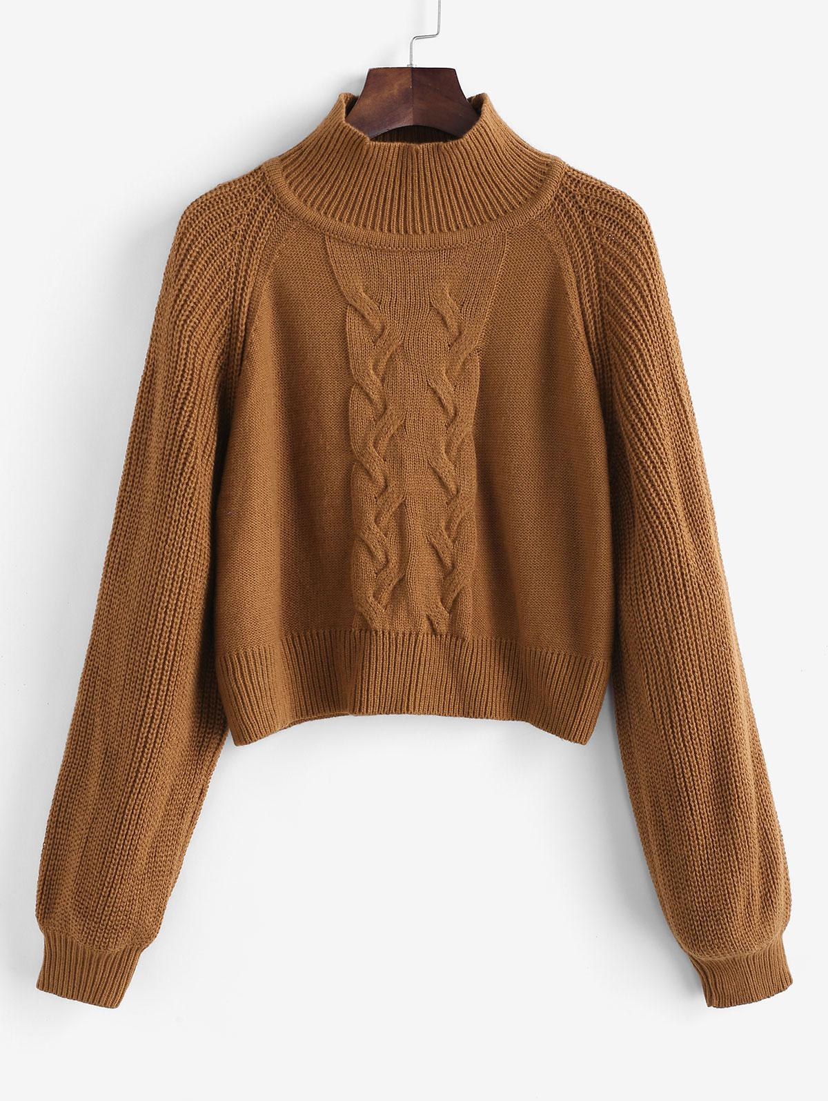 ZAFUL Mock Neck Raglan Sleeve Cable Knit Sweater
